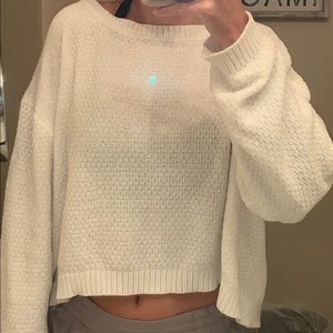 Cropped White Sweater with Open Back WORN ONCE